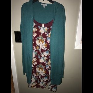 Teal cardigan & maroon spaghetti strap dress
